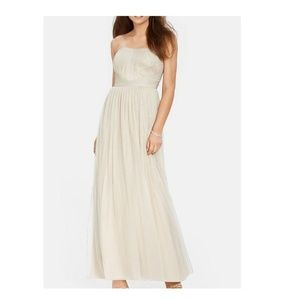 Ralph Lauren Ruched Metallic Tulle Strapless Gown